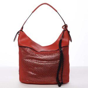 Velká perforovaná dámská kabelka přes rameno červená – Maria C Saghari červená