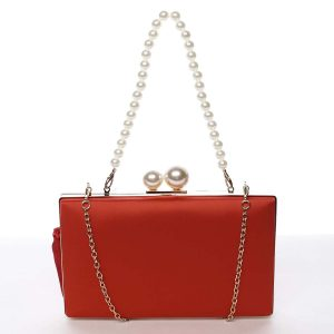 Luxusní dámské saténové psaníčko s perlami červené – Michelle Moon Seeland červená