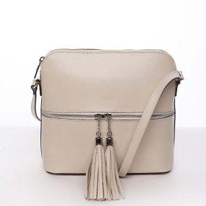 Módní dámská kožená crossbody kabelka béžová – ItalY Farzana béžová