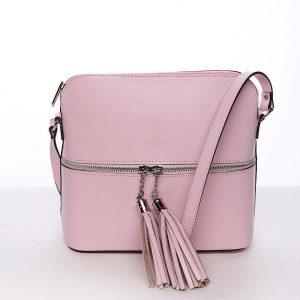 Módní dámská kožená crossbody kabelka růžová – ItalY Farzana růžová
