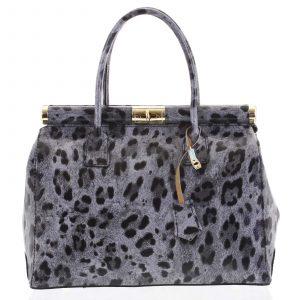 Módní originální dámská kožená kabelka do ruky šedá – ItalY Hila Jaguar šedá