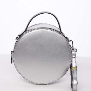 Malá stříbrná elegantní dámská kožená kabelka – ItalY Husna stříbrná