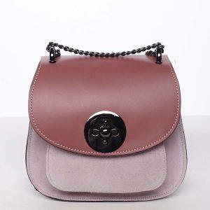 Malá dámská kožená polobroušená kabelka růžová – ItalY Karishma růžová
