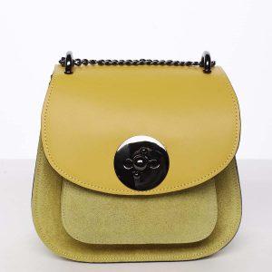 Malá dámská kožená polobroušená kabelka žlutá – ItalY Karishma žlutá