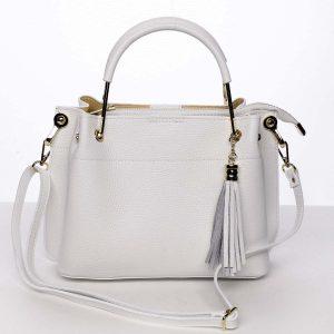 Exkluzivní dámská kožená kabelka bílá – ItalY Maarj bílá