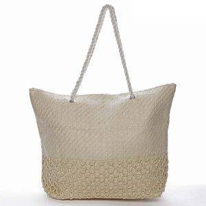 Luxusní plážová taška béžová – Delami Straw béžová