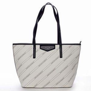 Velká krémově bílá moderní kabelka přes rameno – David Jones Abisag bílá