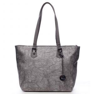 Velká dámská kabelka přes rameno stříbrná – David Jones Rossana stříbrná