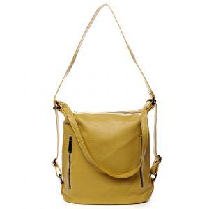Dámská kožená kabelka batoh žlutá – ItalY Nadine žlutá