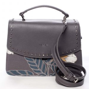 Dámská kabelka do ruky šedá – David Jones Floral šedá