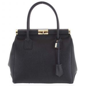 Luxusní dámská kožená kabelka do ruky černá – ItalY Hyla černá
