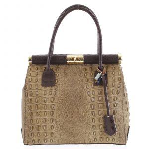 Luxusní dámská kožená kabelka do ruky béžová – ItalY Hyla Kroko béžová