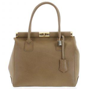 Luxusní dámská kožená kabelka do ruky béžová – ItalY Hyla béžová