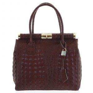 Luxusní dámská kožená kabelka do ruky bordó – ItalY Hyla Kroko vínová