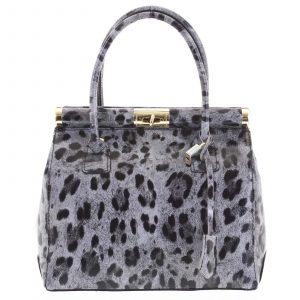 Luxusní dámská kožená kabelka do ruky šedá – ItalY Hyla Jaguar šedá