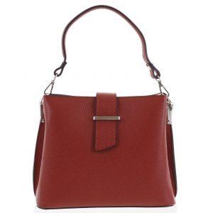 Dámská kožená kabelka do ruky tmavě červená – ItalY Auren červená