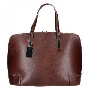 Dámská kožená kabelka Vera Pelle Leona – tmavě hnědá