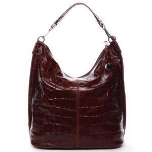 Velká kožená dámská kabelka vínová – ItalY Celinda vínová