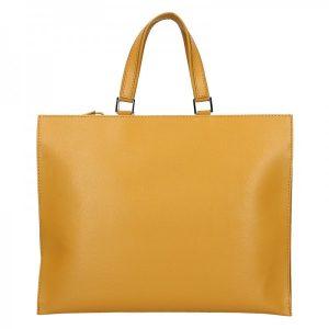Dámská kožená aktovka Facebag Lexa – žlutá