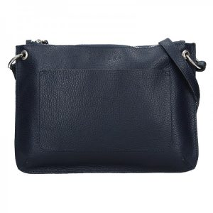 Trendy dámská kožená crossbody kabelka Facebag Nicol – tmavě modrá