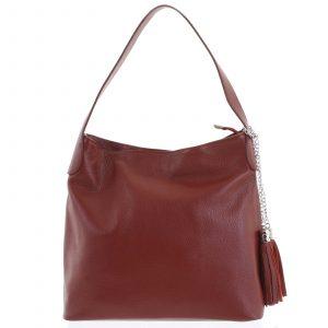 Módní kožená kabelka přes rameno bordó – ItalY Georgine vínová