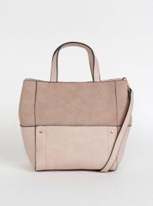 Světle růžová kabelka s detaily v semišové úpravě Dorothy Perkins