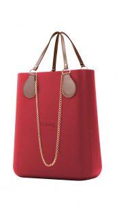 O bag kabelka O Chic Fragola s řetízkovými držadly a pudrovou koženkou