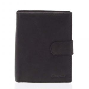 Větší pánská černá kožená peněženka se zápinkou – Diviley Heelal černá