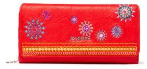 Desigual červená peněženka Mone Ada Maria s výšivkou