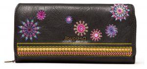Desigual antracitová peněženka Mone Ada Maria s výšivkou