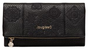 Desigual černá peněženka Mone Alegria Rocio s výšivkou