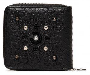 Desigual černá malá peněženka Mone Majestic Zip Square s výšivkou