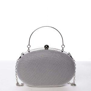 Módní oválné dámské perleťové psaníčko stříbrné – Michelle Moon Circle stříbrná