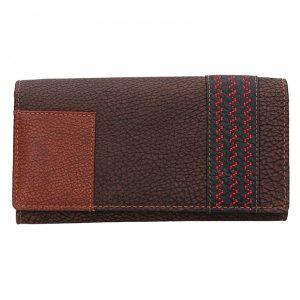 Dámská kožená peněženka Lagen Květa – hnědá