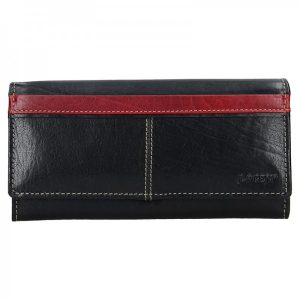Dámská kožená peněženka Lagen Katka – černo-červená