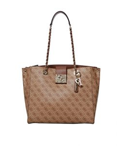 Guess Dámská kabelka Logo City Girlfriend Carryall brown-bro