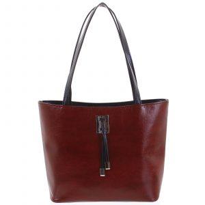 Velká bordo vzorovaná dámská kabelka přes rameno – Ellis Huyen vínová