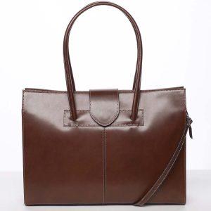 Elegantní a módní dámská kožená kabelka hnědá – ItalY Alison hnědá