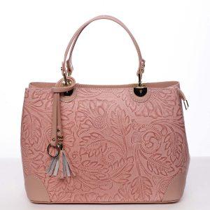 Originální dámská kožená kabelka růžová – ItalY Mattie růžová