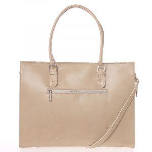 Moderní a elegantní dámská kožená kabelka tmavě béžová – ItalY Madelia béžová