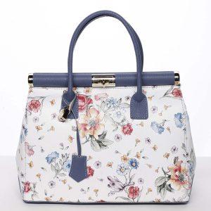 Módní originální dámská kožená kabelka do ruky květinová modrá – ItalY Hila modrá