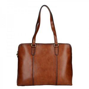 Elegantní dámská kožená kabelka Katana Apolens – koňak