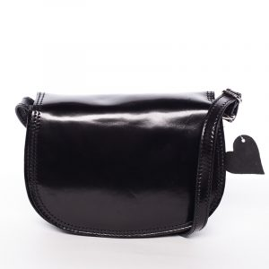 Menší černá lakovaná crossbody kožená kabelka – ItalY Zoya černá