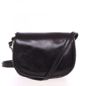 Malá černá hladká crossbody kožená kabelka – ItalY EmZoya černá