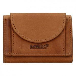 Dámská kožená slim peněženka Lagen Simena – hnědá