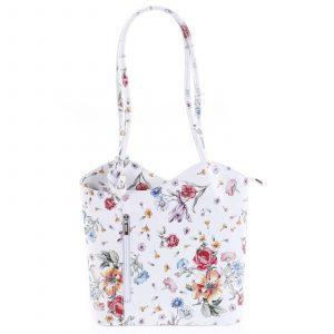 Dámská kožená kabelka batůžek květinová – ItalY Larry bílá