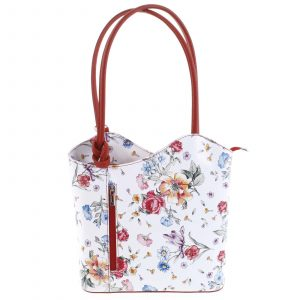Dámská kožená kabelka batůžek květinová červená – ItalY Larry červená