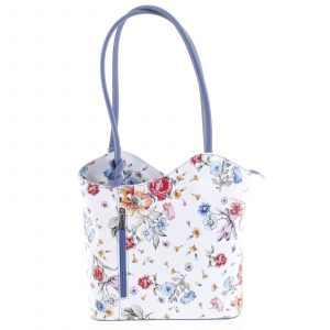 Dámská kožená kabelka batůžek květinová bledě modrá – ItalY Larry modrá