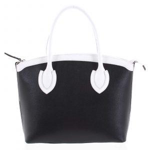 Dámská kožená kabelka černá – ItalY Garden černo/bílá