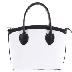 Dámská kožená kabelka bílá – ItalY Garden černo/bílá